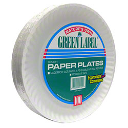 AJM Green Label Paper Plate - 9""