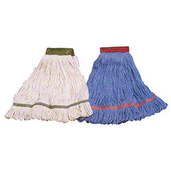 Carlisle Flo-Pac® Wet Mop - Medium, Blue w/Green Band