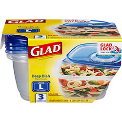 Glad® Deep Dish Food Storage Container w/Lid - 64 oz.