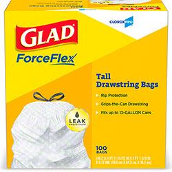 Glad® White 13 Gal. Tall Kitchen Drawstring Bag - 100 ct.