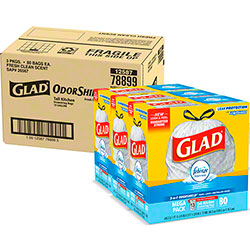 Glad® 13 Gal. Tall Kitchen Drawstring Bag w/Febreze® - 80 ct. Box