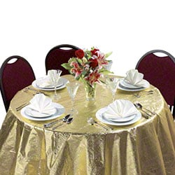 """Hoffmaster® Octy-Round® Metallic Gold Tablecover - 82"""""""