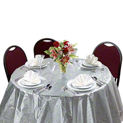 """Hoffmaster® Octy-Round® Metallic Silver Tablecover - 82"""""""