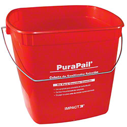 "Impact® 6 Qt. Red ""Sanitizing"" Square Utility Pail"