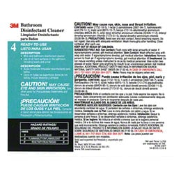 "3M™ Twist n"" Fill™ Bathroom Disinfectant Cleaner Label"