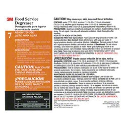 "3M™ Twist n"" Fill™ Food Service Degreaser Label"