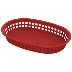 Impact® Round End Rectangle Food Basket - Red