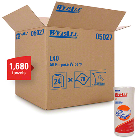 """WypAll® L40 Disposable Cleaning & Drying Towel - 11"""" x 10.4"""", White"""