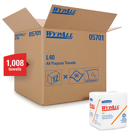 """WypAll® L40 Disposable Cleaning & Drying Towel - 12.5"""" x 12"""", White"""