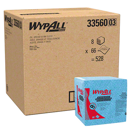 """WypAll® Oil, Grease & Ink Cloth - 12.5"""" x 12"""", Blue"""