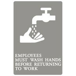 6x9 Ada Sign| Employe Must Wash Hands-gy/we