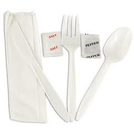 White Complete Wrapped Cutlery Kit