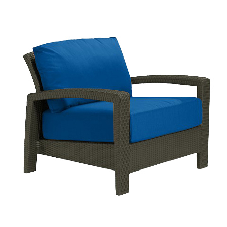 Tropitone Open Arm Blue Cushioned Poolside Seating