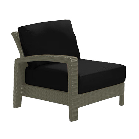 Tropitone Right Arm Black Cushioned Poolside Seating