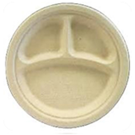 """Plates, Compostable - 10.25"""" 3-Compartment Plate"""