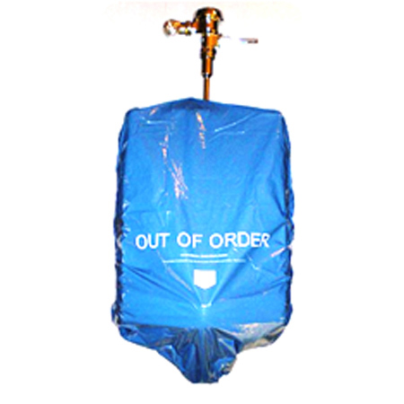 """Urinal """"Out of Order"""" Cover, Disposable, Blue"""