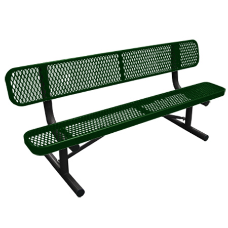 6' Long Expanded Metal Bench w/Back - Green Seat