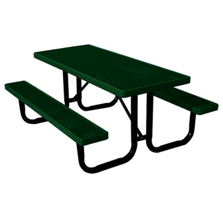6' Thermoplastic Covered Expanded Metal Table-Green Top/Seat