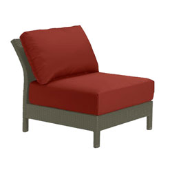 Tropitone Armless Seat Brick Cushioned Poolside Seating