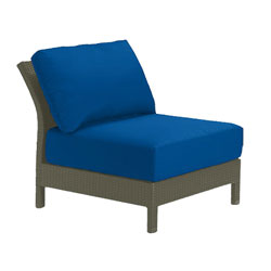 Tropitone Armless Seat Blue Cushioned Poolside Seating