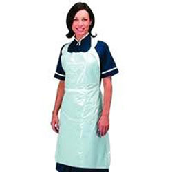 "White Disposable Plastic Aprons - 28"" x 46"""