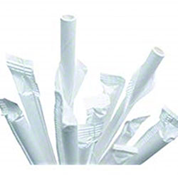 White Paper Straws, Wrapped