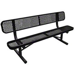 6' Long Expanded Metal Bench w/Back - Black Seat