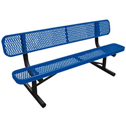 6' Long Expanded Metal Bench w/Back - Mystic Blue Seat
