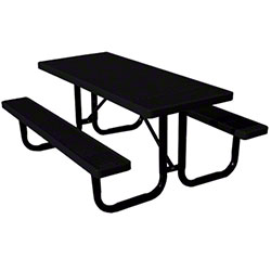 6' Thermoplastic Covered Expanded Metal Table-Black Top/Seat