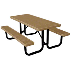6' Thermoplastic Covered Expanded Metal Table- Clay Top/Seat