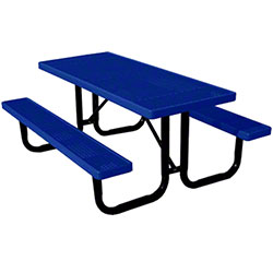 6' Thermoplastic Expanded Metal Table - Mystic Blue Top/Seat