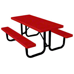 6' Thermoplastic Covered Expanded Metal Table - Red Top/Seat