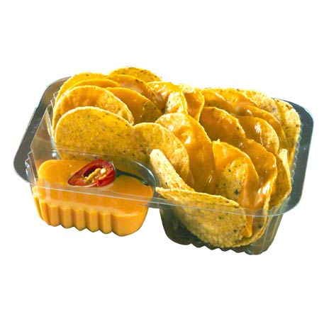 Pactiv ClearView® 2-Compartment Nacho Tray