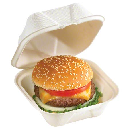 """Pactiv EarthChoice® Fiber Blend Hinged Takeout Container - 6"""" x 6"""" x 3"""""""
