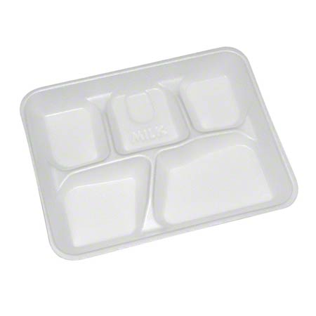 Pactiv White 5-Compartment School Lunch Tray