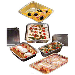 Pactiv Aluminum Full Size Steam Table Pans & Covers