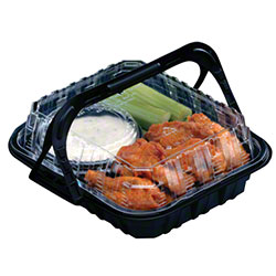 """Pactiv Hot Fried Food Display Takeout Container - 9.5"""" x 8"""" x 3"""""""