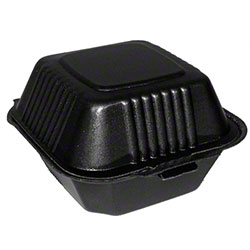 Pactiv SmartLock® Black Hinged Lid Container - Med, Square