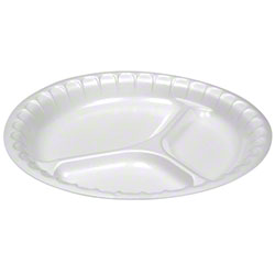"""Pactiv Placesetter® Deluxe 10 1/4"""" 3-Comp. Plate, White"""