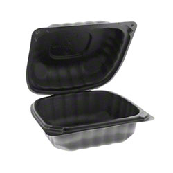 """Pactiv EarthChoice® SmartLock® Hinged Lid Sandwich Takeout Container - 6"""" x 6"""" x 3"""", Black"""