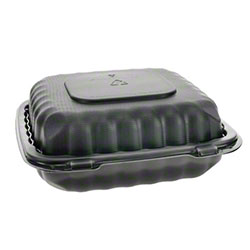 """Pactiv EarthChoice® SmartLock® Hinged Lid Takeout Container - 8"""" x 8"""" x 3"""", Black"""