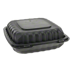 """Pactiv EarthChoice® SmartLock® Hinged Lid 3-Cmpt. Takeout Container - 9"""" x 9"""" x 3"""", Black"""