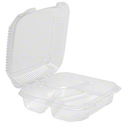 Pactiv EarthChoice® 3 Cmpt PLA Hinged Lid Container