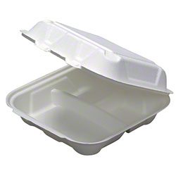 "Pactiv EarthChoice® Fiber Blend Hinged Takeout Container - 8"" x 8"" x 3"", 3-Cmpt."