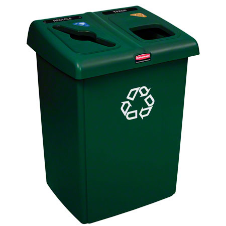 Rubbermaid® Two Stream Glutton® Recycling Station -Green