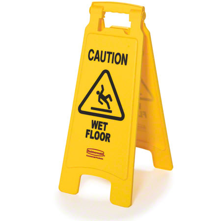 """Rubbermaid® """"Caution Wet Floor"""" 2-Sided Safety Sign - 26"""", Yellow"""
