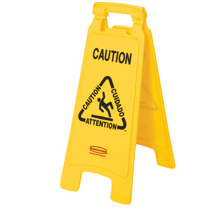 """Rubbermaid® """"Caution"""" 2-Sided Floor Safety Sign - 26"""", Yellow"""