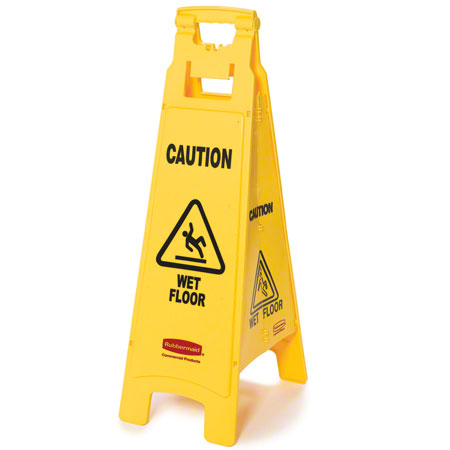"""Rubbermaid® """"Caution Wet Floor"""" 4-Sided Floor Safety Sign"""