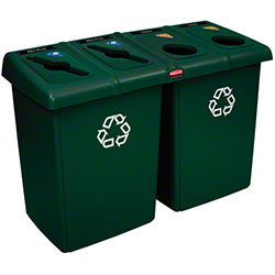 Rubbermaid® Four Stream Glutton® Recycling Station-Green