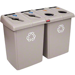 Rubbermaid® Four Stream Glutton® Recycling Station-Beige